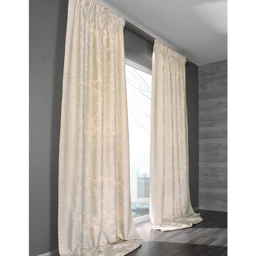 Vorhang Dinastia - 1 Stück - Die Premium-Klasse der Dekorationsstoffe: Rohseide mit Platin. Aufwändig von Hand bedruckt.