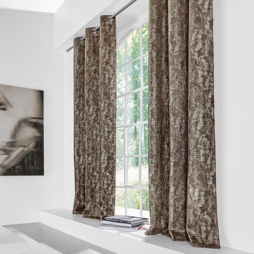 """Vorhang """"Crocodile"""", 1 Vorhang - Wildlife für modernes Wohnambiente: Kroko-Prägung – täuschend echt und mit 3D-Effekt."""