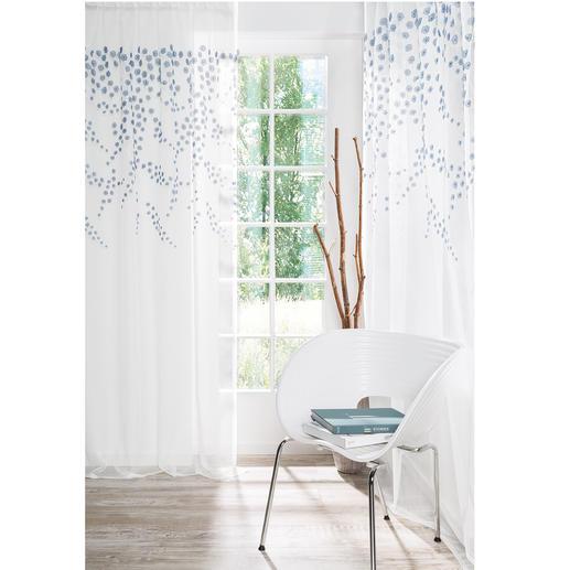 Store/Gardine Fiore - 1 Stück Spektakulär: Opulenter Blüten-Regen – plastisch aufgestickt statt flach gedruckt.
