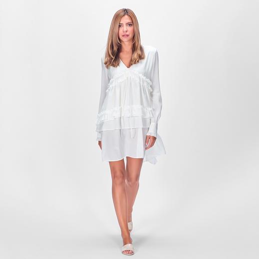 SLY010 Volant-Seidenkleid Angesagt verspieltes Kleid und hochmodische Longbluse in einem. Aus edler Stretchseide. Von SLY010.