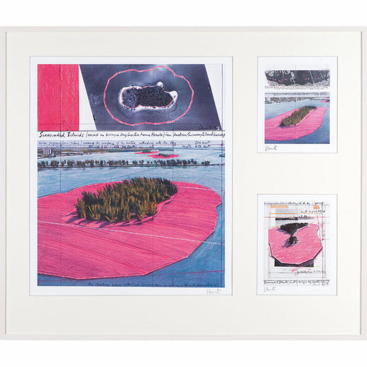 """Christo und Jeanne-Claude – Surrounded Islands – three selected works - 3 Zeichnungen des Projektes """"Surrounded Islands"""" in hochwertiger 3-in-1-Rahmung. Mit Signatur des Künstlers Christo. Maße: gerahmt 120 x 103 cm"""