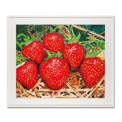 """Thomas Baumgärtel – o. T. Erdbeeren - Die berühmteste Banane der Kunstwelt: Baumgärtels Erdbeeren bestehen aus hunderten Bananen. Edition """"o. T. Erdbeeren"""" – exklusiv für Pro-Idee. Handübersprüht. 20 Exemplare. Maße: 85 x 70 cm"""