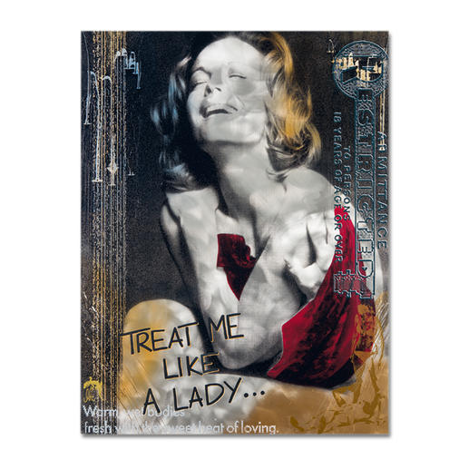 """Devin Miles – Like a Lady - Devin Miles: Der Shootingstar der deutschen """"Modern Pop-Art"""". Unikatserie aus Malerei, Siebdruck und Airbrush auf gebürstetem Aluminium. 100 % Handarbeit. Maße: 100 x 130 cm"""