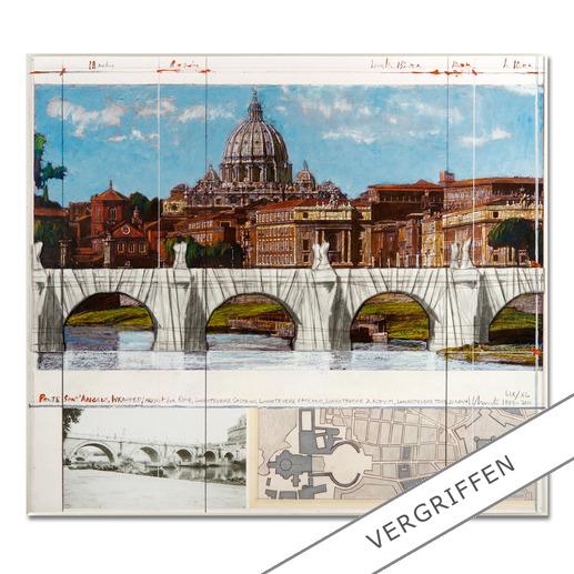 """Christo – Ponte St. Angelo, Wrapped – Project for Rome, 1969-2011 - Ein echtes Sammlerstück: Christos handübermalte und mit Stoff collagierte Collage. Geschützt hinter Acrylglas. Die letzten 8 Exemplare von """"Ponte St'Angelo""""."""
