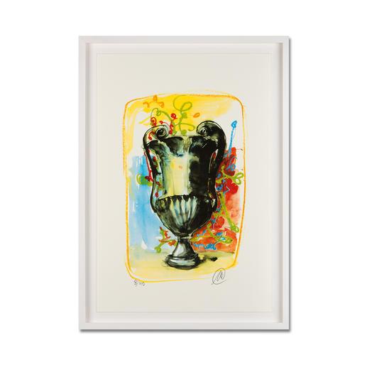 Markus Lüpertz – Vase 3 - Keine Lüpertz-Edition ist wie diese. Einer seiner seltenen farbenfrohen Siebdrucke. Gering limitiert mit 40 Exemplaren. Maße: gerahmt 57 x 79 cm