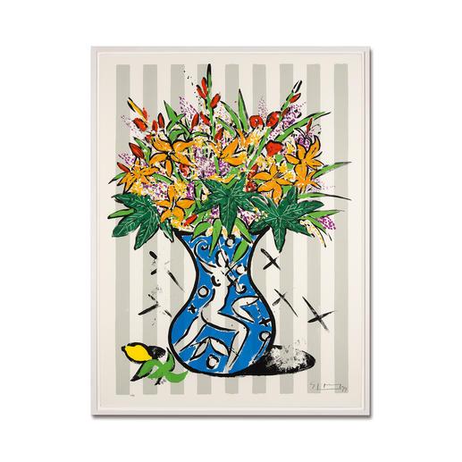 Stefan Szczesny – Flowers on Stripes - Stefan Szczesnys großformatigste Grafik-Edition. Im Format 120 x 160 cm. 60 Exemplare. Maße: gerahmt 127 x 167 cm