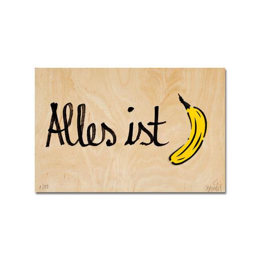 """Ein typischer Baumgärtel. 100 % handbesprüht und -beschriftet. Ein typischer Baumgärtel. 100 % handbesprüht und -beschriftet. Edition """"Alles ist Banane"""" auf einer 15 mm Birke-Multiplex-Platte. Jedes Werk ein Unikat. Maße: 36 x 24 cm"""