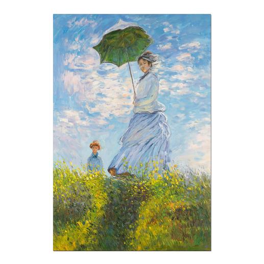 """Zhao Xiaojie malt Monet – Frau mit Sonnenschirm - Zhao Xiaojie """"Frau mit Sonnenschirm"""": Die perfekte Kunstkopie – 100 % von Hand in Öl gemalt."""