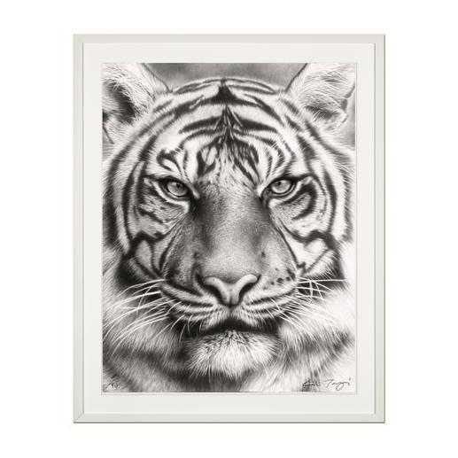 """Koshi Takagi: """"Eyes of the tiger"""" - Fotorealistische Bleistiftzeichnung. Mit über 1 Million handgemalten Strichen. Koshi Takagis erste Edition seiner Raubkatzen-Serie. 90 Exemplare."""