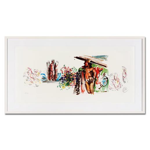 Markus Lüpertz – Bacchus Unverkennbar Markus Lüpertz: Eines seiner charakteristischsten Werke als Siebdruck. Gering limitiert mit 40 Exemplaren. Maße: gerahmt 115 x 64 cm