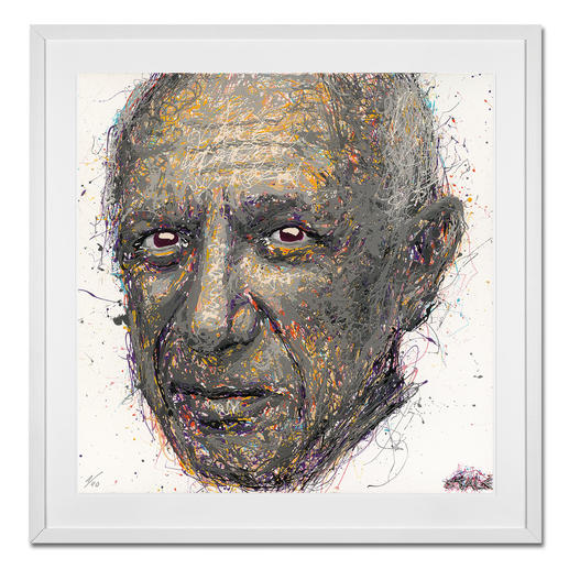 STALE – Think different/Picasso STALE: Senkrechtstarter dank weltweit einzigartiger Technik. Bemerkenswertes Picasso-Portrait im Action Painting erschaffen. 40 Exemplare. Maße: gerahmt 72 x 72 cm