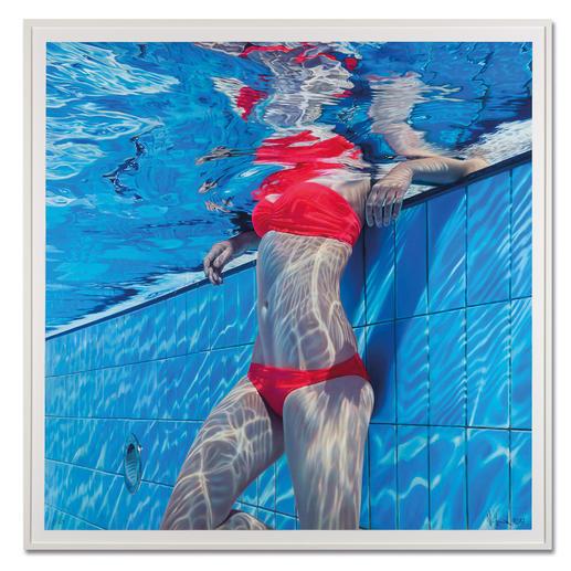 Jean-Pierre Kunkel – Pool No. 15 Jean-Pierre Kunkel: Fotorealistische Malerei in höchster Präzision. Erste Edition – exklusiv bei Pro-Idee. 40 Exemplare. Maße: gerahmt 120 x 120 cm