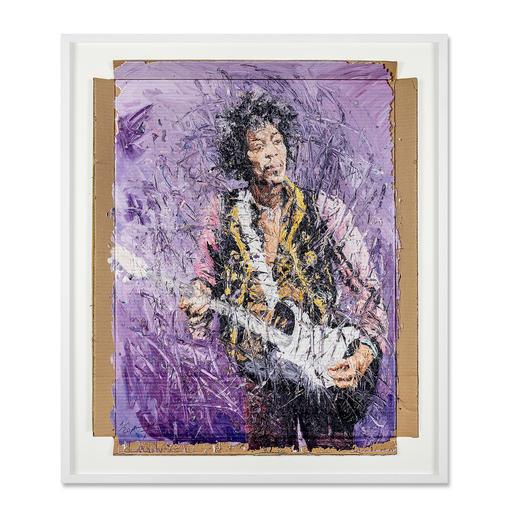 Oliver Jordan – Jimi Hendrix - Oliver Jordans zweite Jimi-Hendrix-Auflage (die erste war nach kurzer Zeit ausverkauft). Exklusive Pro-Idee-Edition auf Kartonage. 20 Exemplare. Maße: gerahmt 92 x 108 cm