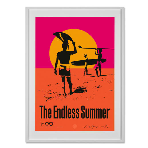 """John van Hamersveld – The Endless Summer John van Hamersvelds """"The Endless Summer"""" im MOMA New York – und jetzt bei Ihnen zu Hause. Legendäres Surf-Poster. 40 exklusive Exemplare mit Nummerierung, Unterschrift des Künstlers und Studiostempel. Maße: gerahmt 85,5 x 117 cm"""