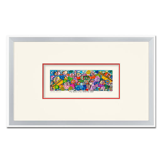 James Rizzi – My Busy City Traffic Jam - 3D-Papierskulpturen des verstorbenen James Rizzi. 350 Exemplare. Maße: gerahmt 25 x 41 cm