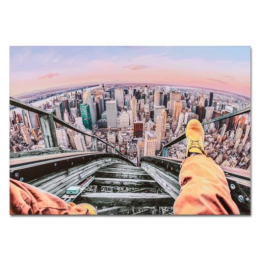 Robert Jahns – Rollercoaster above New York Robert Jahns:Einer der populärsten Instagram-Stars. 40.000 Likes über Nacht. Rollercoaster above New York –  jetzt als Leinwand-Edition exklusiv bei Pro-Idee. Maße: 100 x 70 cm