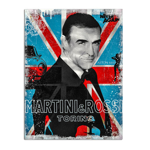 """Devin Miles – Martini & Rossi II - Der Shootingstar der deutschen """"Modern Pop-Art"""". Unikatserie aus Malerei, Siebdruck und Airbrush auf gebürstetem Aluminium. 100 % Handarbeit. Maße: 60 x 80 cm"""