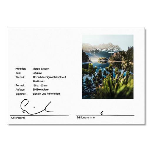Das Zertifikat mit Signatur des Künstlers auf der Rückseite.