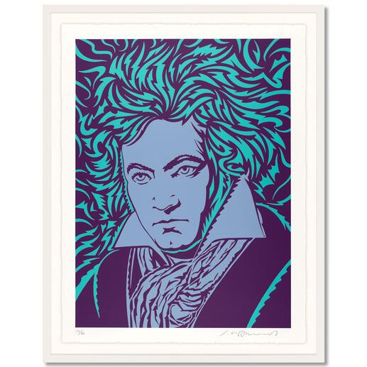 """John van Hamersveld – Blue Beethoven John van Hamersvelds """"Blue Beethoven"""".  Niedrig limitierte Sonderedition zum 250. Geburtstag von Ludwig van Beethoven. Maße: gerahmt 96,5 x 122,5 cm"""