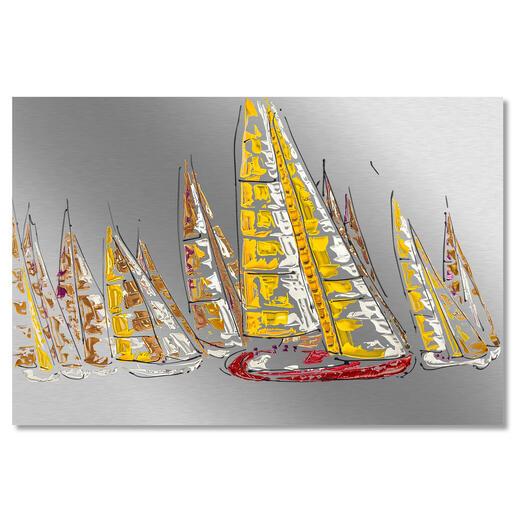 Paul La Poutré – Sailing together Paul La Poutré:Neueste Unikatserie – 100 % von Hand auf Edelstahl gemalt. (Seine ersten waren nach wenigen Tagen ausverkauft.) 24 Exemplare. Exklusiv bei Pro-Idee. Maße: 120 x 80 cm