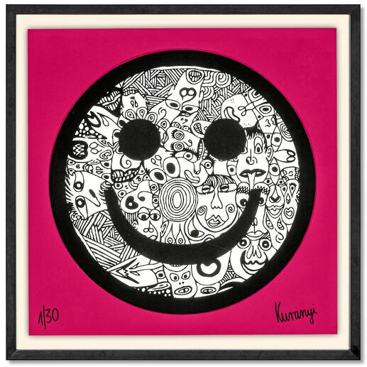 Romulo Kuranyi – Smiley Romulo Kuranyi: Der international gefeierte Künstler editiert seine erste Edition. Exklusiv bei Pro-Idee. 30 Exemplare. Maße gerahmt: 70 x 70 cm.