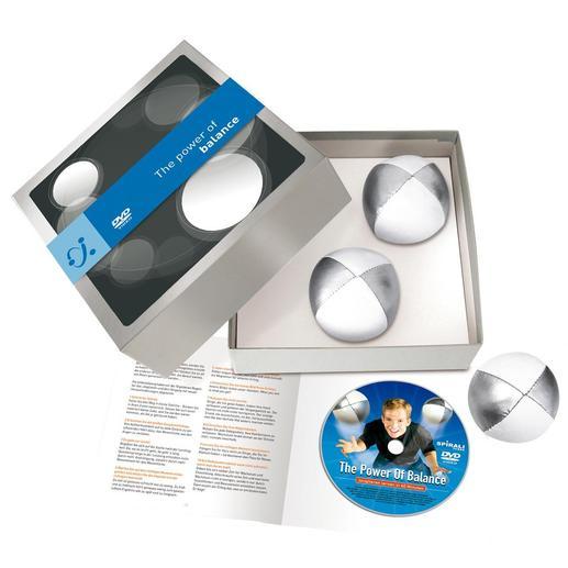 Ihr Jonglierset kommt im Geschenkkarton – inkl. DVD und 10-seitigem Begleitheft.