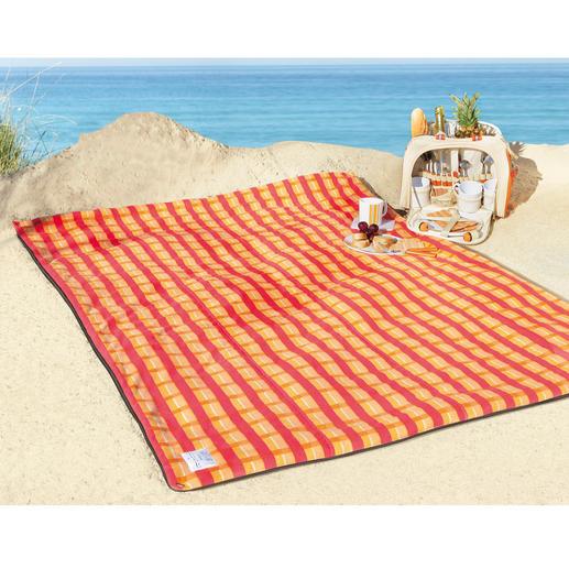 Picknickdecke - Oben kuschelweich und warm gepolstert. Von unten 100 % wasserdicht.