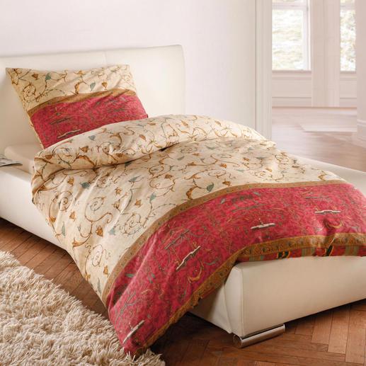 Der hochwertige Indanthrendruck ist farb- und lichtecht. Durch vorheriges Sanforisieren (Krumpfen) läuft Ihre Granfoulard®-Bettwäsche beim Waschen nicht ein.