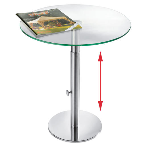 ebinger glas beistelltisch edelstahl h henverstellbar. Black Bedroom Furniture Sets. Home Design Ideas