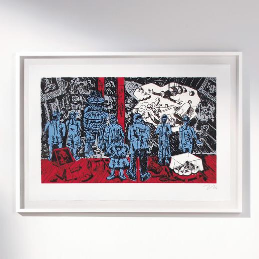 Nummerierte Immendorff-Grafik – The Rake's Progress - Sichern Sie sich einen der letzten, noch handsignierten Drucke von Jörg Immendorff. Maße: gerahmt 125 x 87 cm