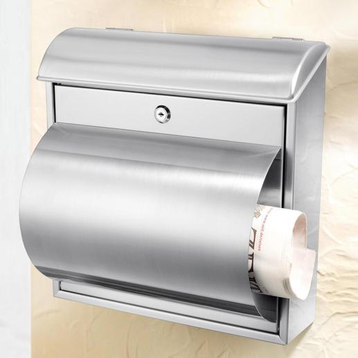 Edelstahl-Briefkasten - Solide, langlebige Qualität. Mit praktischem Zeitungsfach.