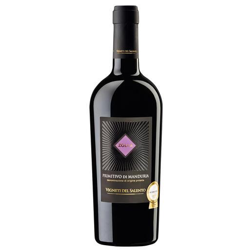 """Zolla Primitivo di Manduria 2013, Vigneti del Salento, Apulien, Italien, Rotwein - Der """"beste Rotwein Italiens."""" (Von mehr als 600 Rotweinen Italiens, Mundus Vini Frühjahrsverkostung 2014, www.mundusvini.com)"""