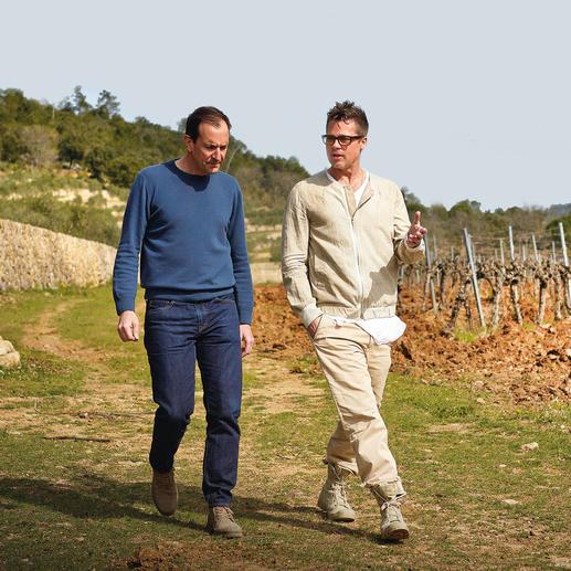 Brad Pitt und Marc Perrin in den Weinbergen