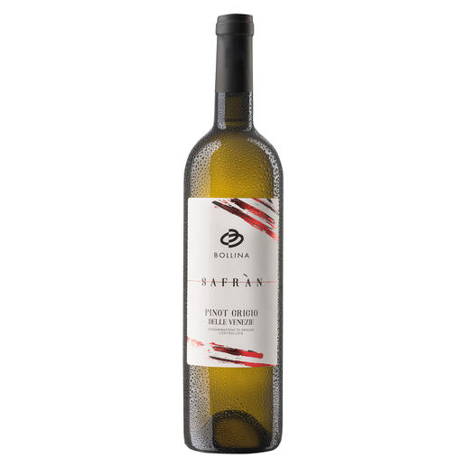 """Pinot Grigio delle Venezie """"Safran"""" 2020, La Bollina, Venetien, Italien Zwei Mal in Folge 97 Punkte von Luca Maroni. (www.lucamaroni.com über die Jahrgänge 2019 und 2018)"""