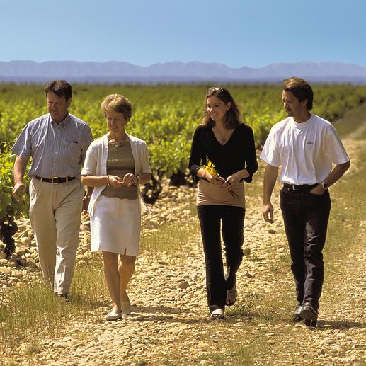 Weinmacher Jérôme Quiot (links) mit Familie.