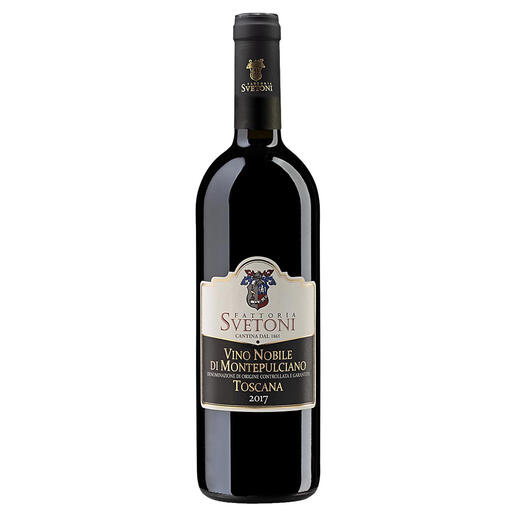 "Vino Nobile di Montepulciano Svetoni 2017, Fattoria Svetoni, Italien ""Einer der besten Rotweine des Jahres und der Region, Chapeau. 98 Punkte."" (Luca Maroni, Annuario dei Migliori Vini Italiani 2021)"