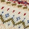Moosgrün, Hellblau, Bordeaux-Rot, Beige auf ecru-farbenen Fond