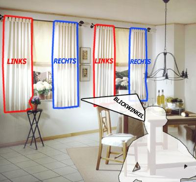 Sondermaß: Vorhang links/rechts oder mittig am Fenster   Kavaliershaus