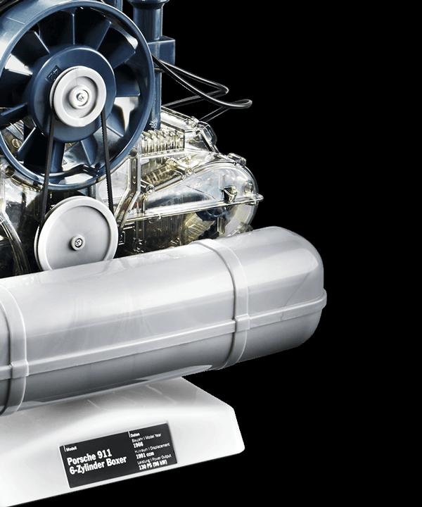 Steckbausatz Porsche 6-Zylinder-Boxermotor inkl. Modellauto Porsche 911
